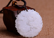 Beautiful Genuine Handmade Natural White Jade Carved Dragon Phoenix Pendant Necklace Fashion Carving Pendants Jewelry(China (Mainland))