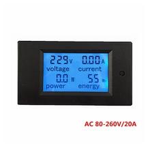 1pcs New 4 in 1 Voltage Current Power Energy meter Gauge AC 80-260V/20A voltmeter Ammeter with blue backlight