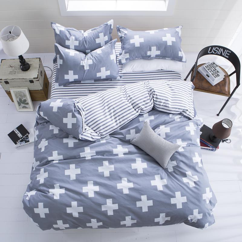 Summer style bedding cotton set twin Full Queen size duvet cover set reactive printed bed linen flat sheet bedclothes not quilt(China (Mainland))