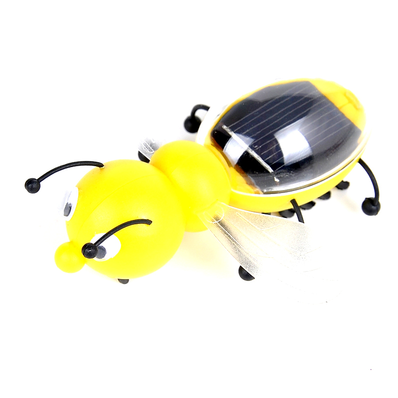 Promotion Kids Solar Toys Power Energy Yellow Mini Bee Children Insect Bug Teaching Educational Fun Gadget Toy Christmas Gift(China (Mainland))