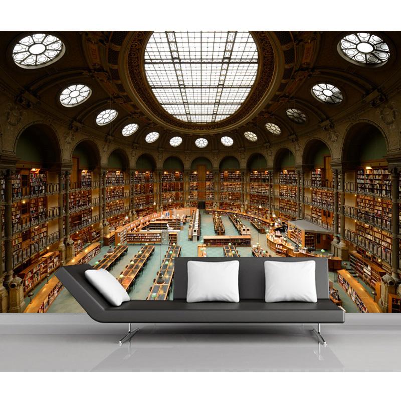 Online get cheap wallpaper bookshelf for Bookshelf wallpaper mural