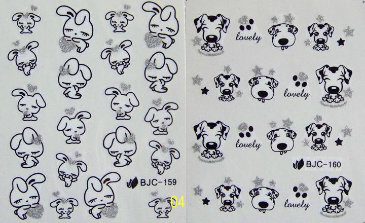 20pcs/lot Nail art tools accessories watermark applique finger sticker cartoon bjc-155-165 cattle dog rabbit(China (Mainland))