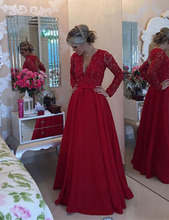 2016 New Design Elegant Long A-line Red Taffeta Lace Evening Dresses Pearls Lady Prom Party Gown With Long Sleeves R052413(China (Mainland))