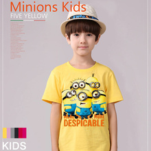 (Harajuku T Shirt) Sale New 2016 children anime summer t shirts despicable me 2 boys minion Family t-shirt  girls nova kids Tees