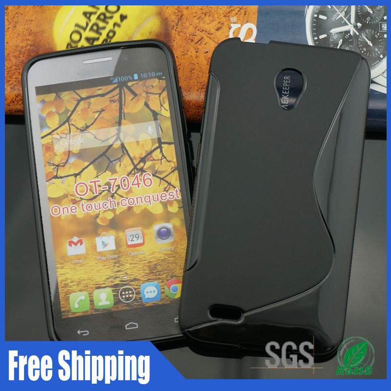 S type For Alcatel OT 7046 One Touch Conquest phone cases free shipping,Single color full 100pcs 25% off(China (Mainland))