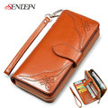 SENDEFN European Oil Wax Cowhide Leather Wallets Women Clutch Vintage Long Card Holder Phone Wallet Female