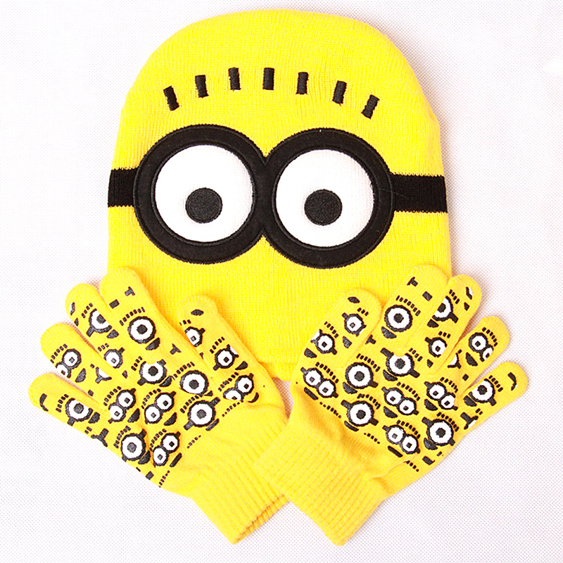 New 2015 autumn winter despicable me 2 minions children knitted hat and gloves sets, kids warming Hip-hop knitting Acrylic Hat(China (Mainland))