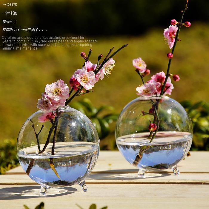 Terrarium Round Glass Pots Ball Tabletop Vase Creative Handmade Plant Vaso Flower Vase Terrarium(China (Mainland))