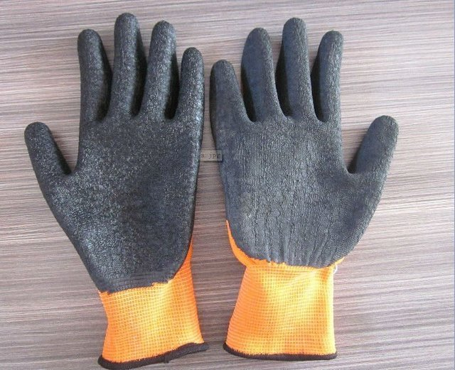 Free Shipping!wholesale12 pairs/dozen 13 gauge orange latex coated crinkle  working gloves/safety protective gloves/