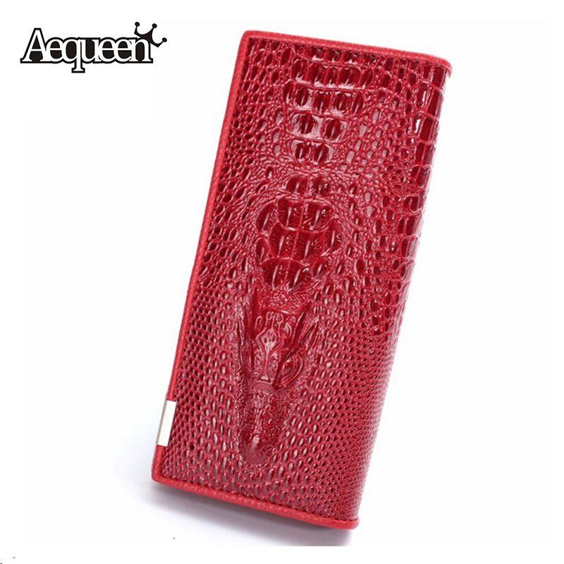 3D Crocodile Grain Women Long Wallets Leather Embossed Design Draw-out billetera Female Wallet Clutch Purses Carteira(China (Mainland))