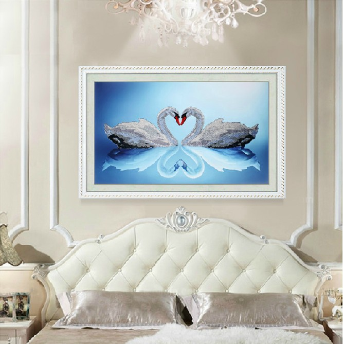 2014 New 5d Diy Round Resin Diamond Paintings Heart to Heart Swan Rhinestone Pasted Painting Crystal Drill Embroidery Needlework(China (Mainland))