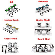 SA 4pcs/Set Stainless Steel Car Wheel Tire Tyre Valves Caps Alien ET Smiley Face Cross Skull Grenade Nuclear Bomb 6 Styles(China (Mainland))