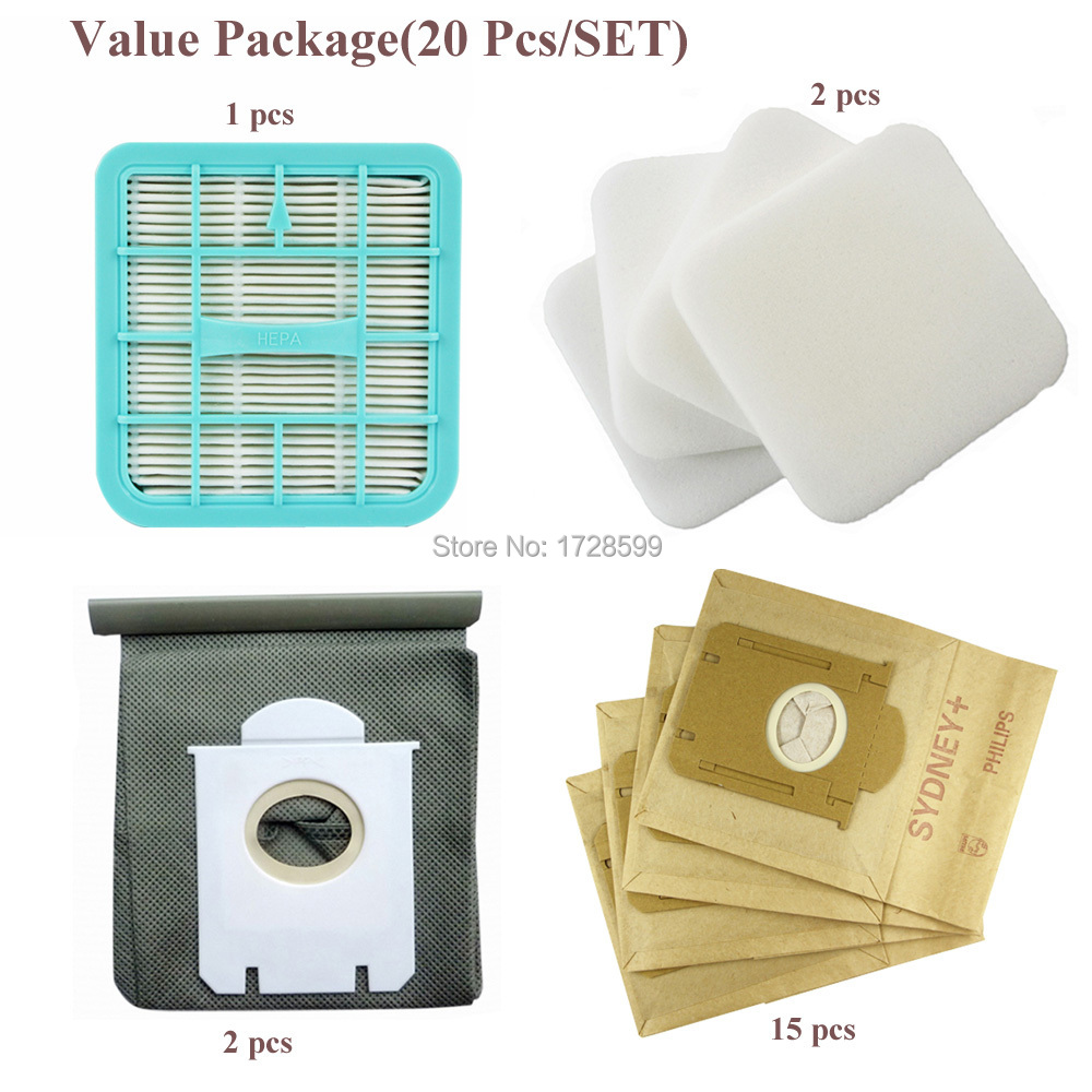 Гаджет  Value Package(20Pcs/SET)Vacuum Cleaner Parts Dust Bag+Filter HEPA For Philips FC8202 FC8204 FC8206 FC8208 FC8220 FC8224 FC8226 None Бытовая техника