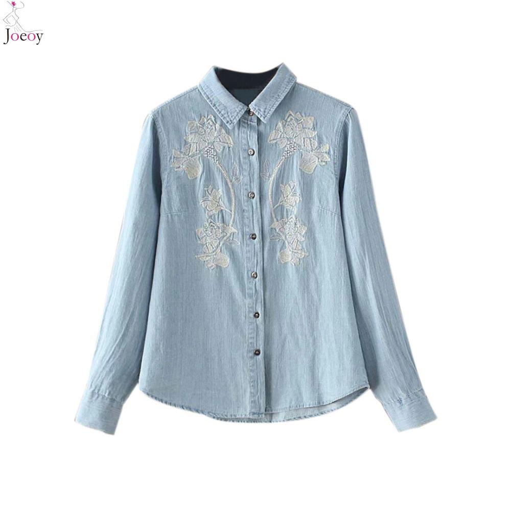 Women light blue shirt neck embroidery detail long sleeve for Ladies light denim shirt