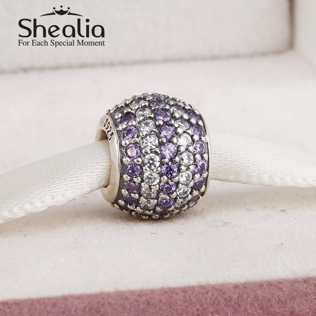 2014 новые подлинные серебро 925 прелести проложить фиолетовый и ясно циркон подвески для женщин подходит известный бренд diy браслеты LW212D