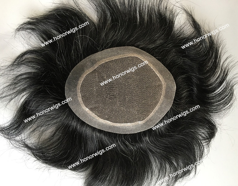 men's toupee hair replacement  HT352 black color mix 20% gray hair stock fast delivery 6inch x 8inch 130% hairdensity swiss lace