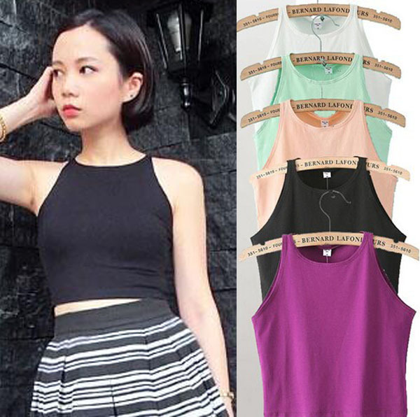 6 colors womens vest tight crop top skinny o neck ladies for Tight t shirt crop top