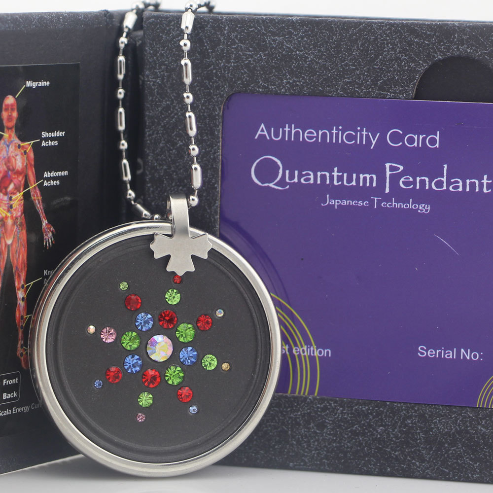 Quantum Scalar Pendant Necklace With Nano Energy Lava Material Balance Magnetic Chain Power +Product Registration Card(China (Mainland))