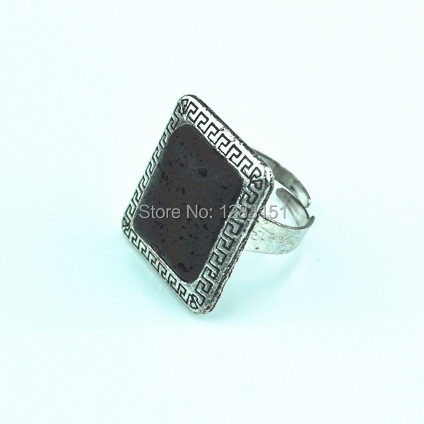 Toonykelly R163 Adjustable Lava Rock Stone Ring Vintage Look Tibetan Antique Silver Plated(Volcano,not plastic or resin) Jewelry(China (Mainland))