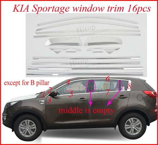 Sportage window trim sill cover frame,2010-2013-2015,factory , 2pcs-22pcs, 10choices, different price, - Hitop Auto Accessories Co., Ltd-Global SUV Decoration store