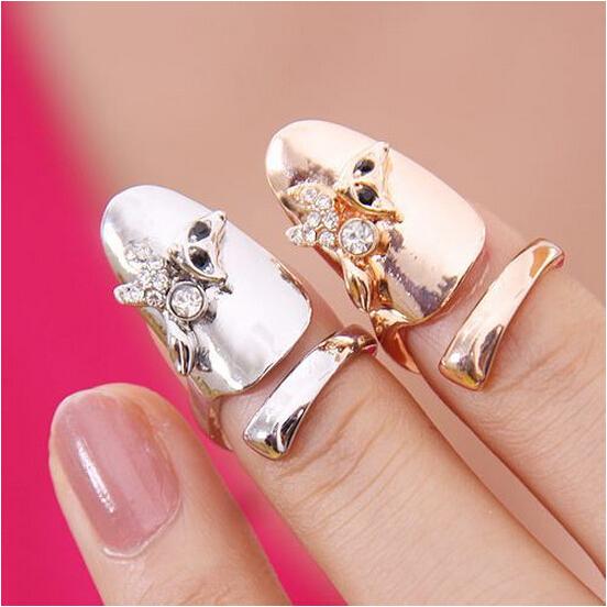 2015 New Hot !!! Fashion Fine Jewelry Dazzling Rhinestone Bohemia Personality Fox Wedding Gild Fingernail Rings For Women R-24(China (Mainland))