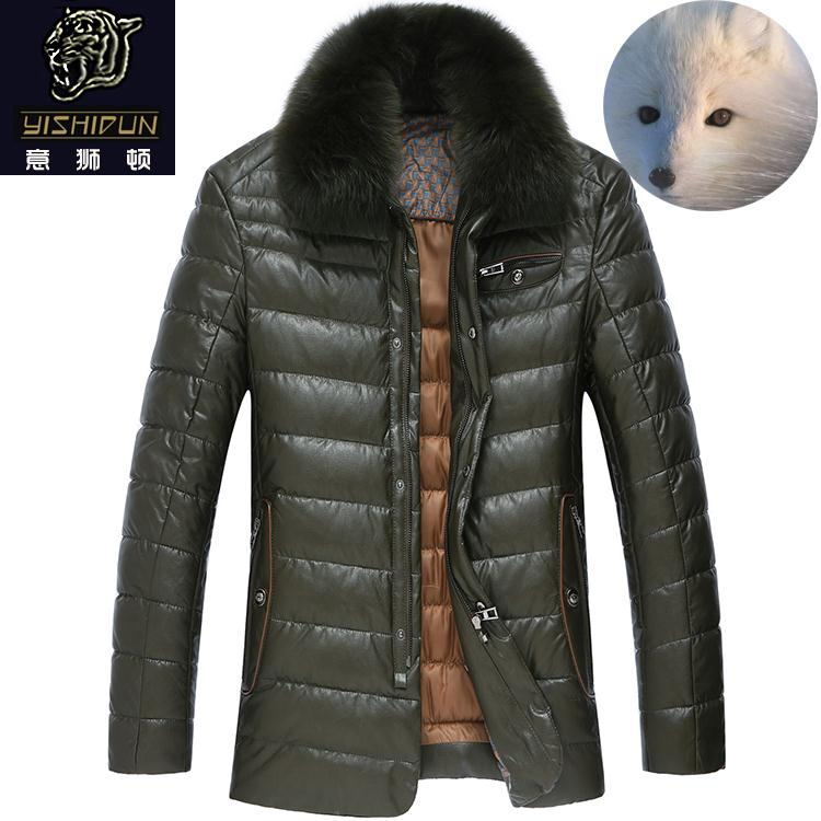 PU leather men short of genuine fox fur collar down jacket men s Midlife men s