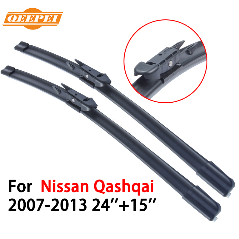 QEEPEI Wipers Blade For Nissan Qashqai 2007-2013 24''+15'' Car Accessories Auto Rubber Windshield Wiper CPB104(China (Mainland))