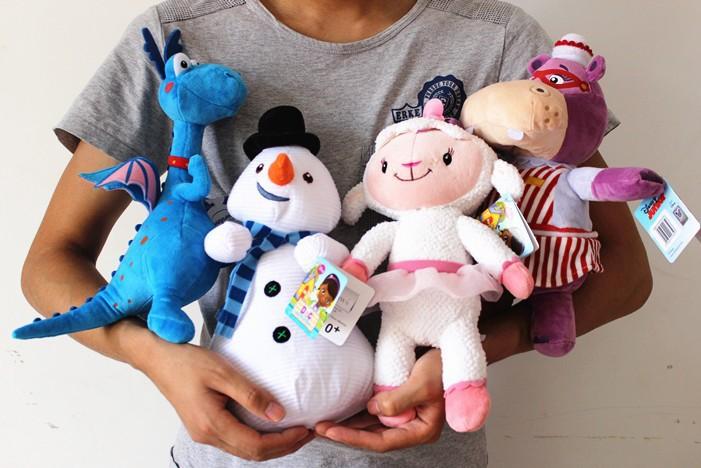 Free shipping 4pcs/lot 30cm=11inch Doc McStuffins stuffed dolls set sheep hippo dragon snowman stuffed plush doll(China (Mainland))