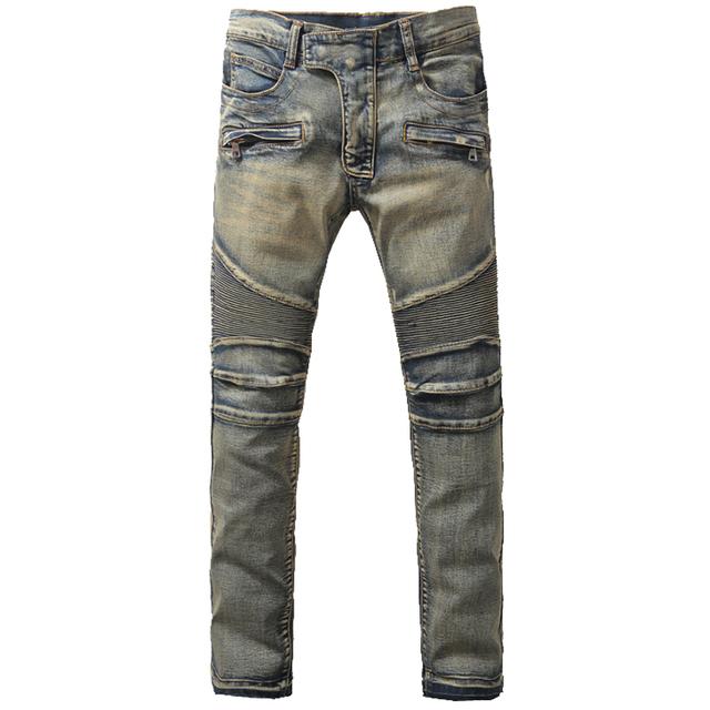Мужская мода старинные почесал нижние байкер джинсы свободного покроя большой размер ...