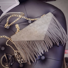 Luxury brand designer tassels female courier envelope clutch chain bag 2016 new rivets female girl Hou Leisi with free shipping