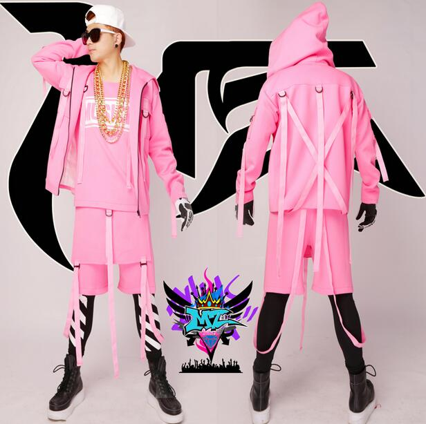 HOT 2016 NEW fashion plus size men clothing nightclub singer DS Beyonce male DJ hip-hop pink jackets sets costume party show(China (Mainland))