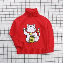 1-7 Thn Ins Sweater Rajutan Sweater Anak Merah Beruntung Kucing Cetak Turtleneck Pullover Perempuan Musim Dingin Hangat Natal Sweater Blouse(China)