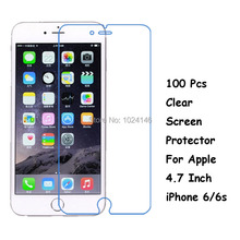 New 100 Pcs/Lot HD Clear Screen Protector For Apple 4.7 Inch iPhone 6/6S Protective Film Guard With Cleaning Cloth