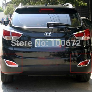 ABS Chrome Auto car styling Tail Fog Light Lamp Molding Trim Covers 2pcs Fit For Hyundai IX35 2010-12 Free Shipping(China (Mainland))