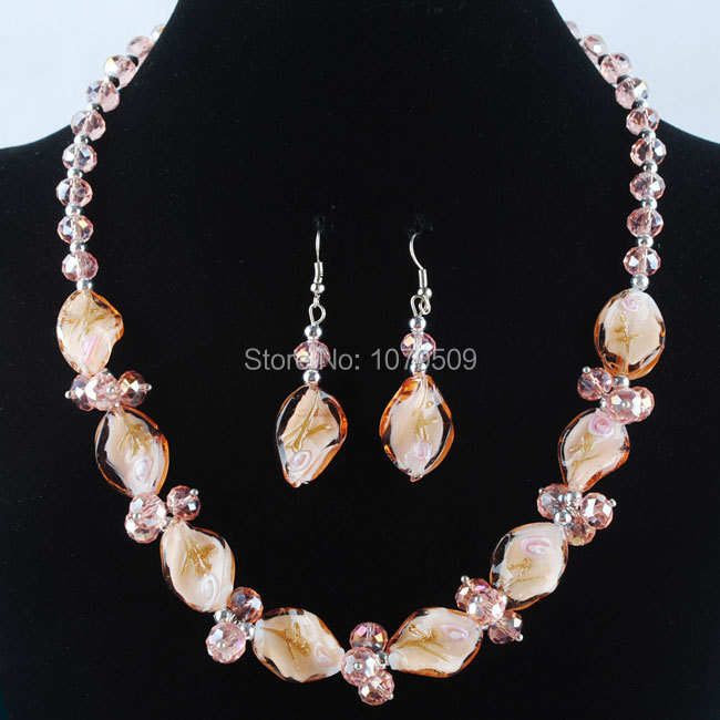 Free shipping Fashion Pink Crystal Lampwork Glass Beads Necklace Earrings SET VM960(China (Mainland))