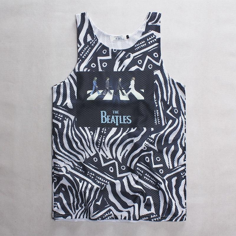 2015 The Beatles pattern print vest mens basketball jersey mesh tank tops men off white virgil abloh zebra printed jersey,ZA057(China (Mainland))
