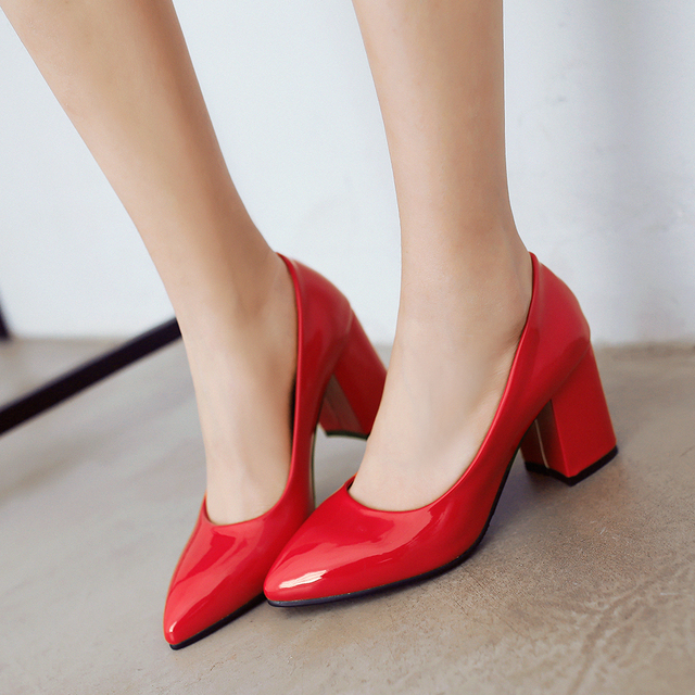 Pointed toe womens red high heels large size shoes ladies