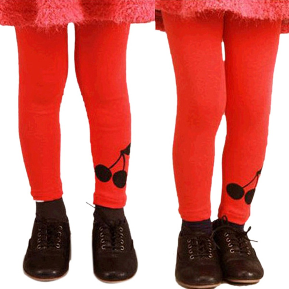 Baby Kids Girl Cherry Printed Warm Stretchy Leggings Trousers Toddler PantFree&Drop Shipping