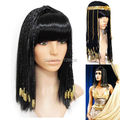 Cosplay wig long braided hair Egypt Queen Cleopatra hairstyle clean bangs synthetic black wig