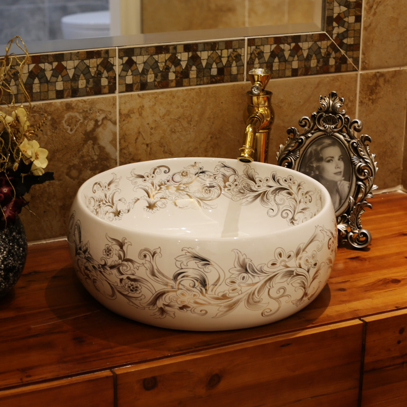 Europe Vintage Style Ceramic Art Basin Sinks Counter Top Wash Basin Bathroom Vessel Sinks