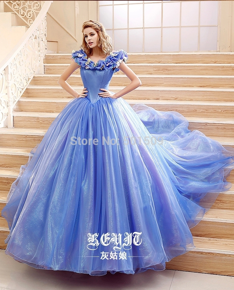 100% real ladies new style light blue/white butterfly ...