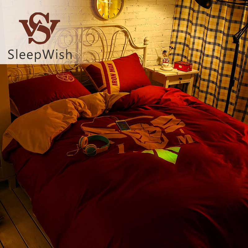 SleepWish Glow Marvel Bedding Iron Man Red Duvet Cover Set Creative Cool Bed Sheet for Bedroom Queen Size 4Pcs Bedlinen(China (Mainland))