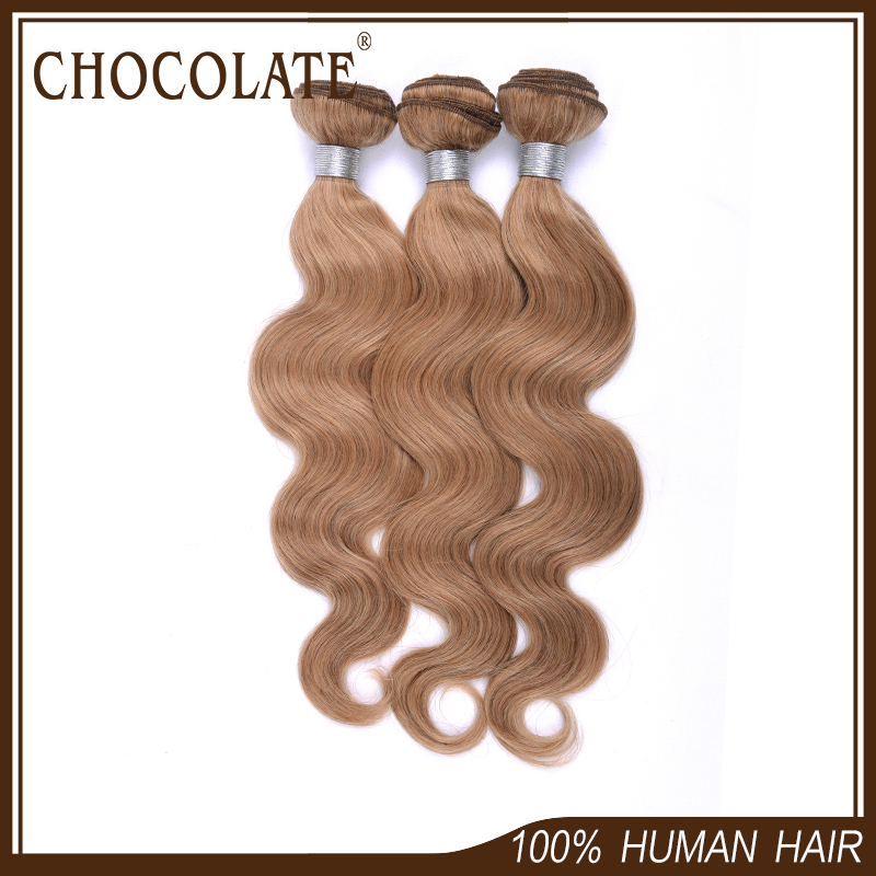 Chocolate Hair Products 3pcs/lot 6a Peruvian Culy Hair Extension Body Wave Natural Blonde Color 100% Peruvian Virgin Hair Weave(China (Mainland))