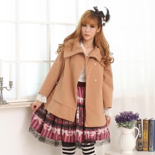 Сладкая Лолита Пальто дамская Винтаж Длинные Хаки Свободные Асимметричный Воротник Куртки для Зимы