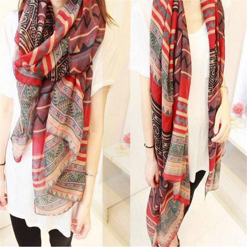 Hot sale Korean National Wind Printing Scarf Shawls Dual Long Paragraph Cotton Scarf Red(China (Mainland))