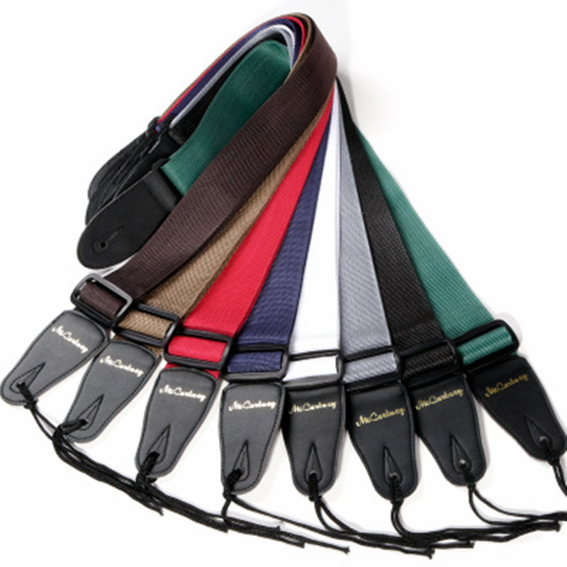 High Quality Acoustic Electric Guitar Strap Leather Nylon Bass Guitar Strap Black Brown Green Blue Strap For Guitar Accessories(China (Mainland))