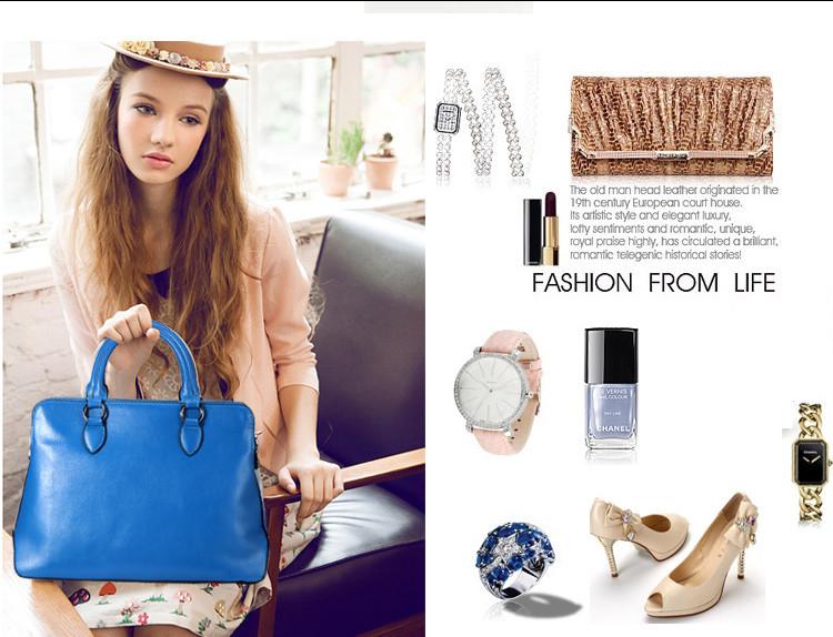 2015 Designer Fashion Women Genuine Leather Handbag Lady Messenger