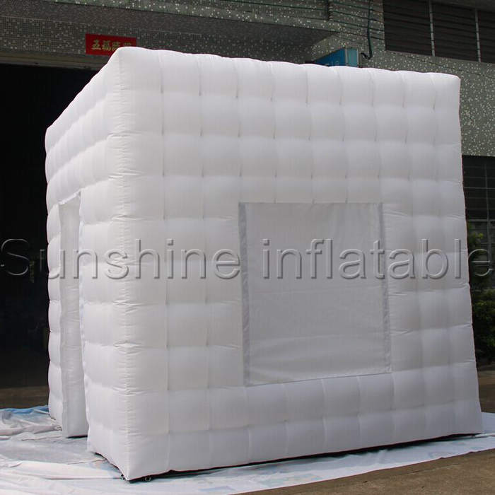 White cube portable inflatable photo booth tent inflatable photo booth enclosure with window and colorful LED(China (Mainland))