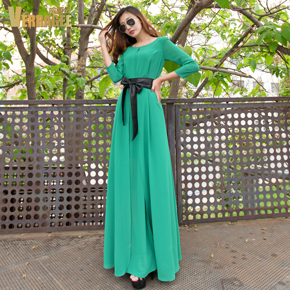 Three Quarter Sleeve Maxi Dress Dress Three Quarter Sleeve