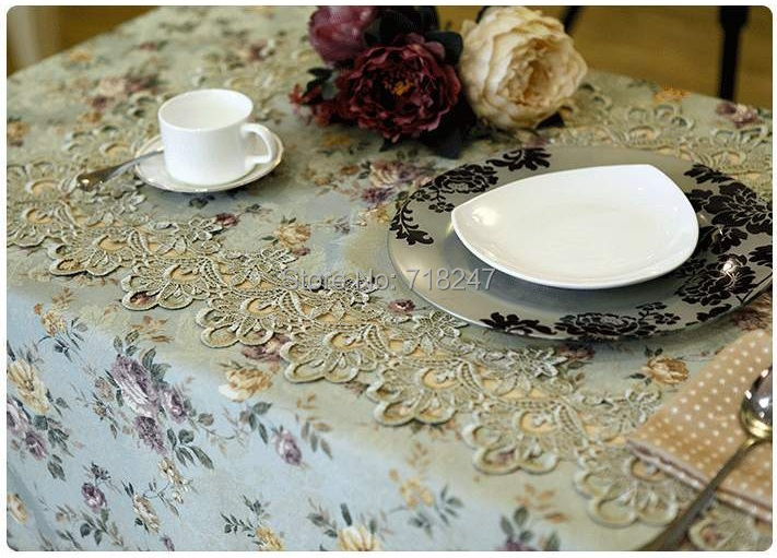 High Quality 130*180cm European Elegant Polyester Jacquard Lace Tablecloth Green Rural Country Table Linen Cloth Overlay(China (Mainland))